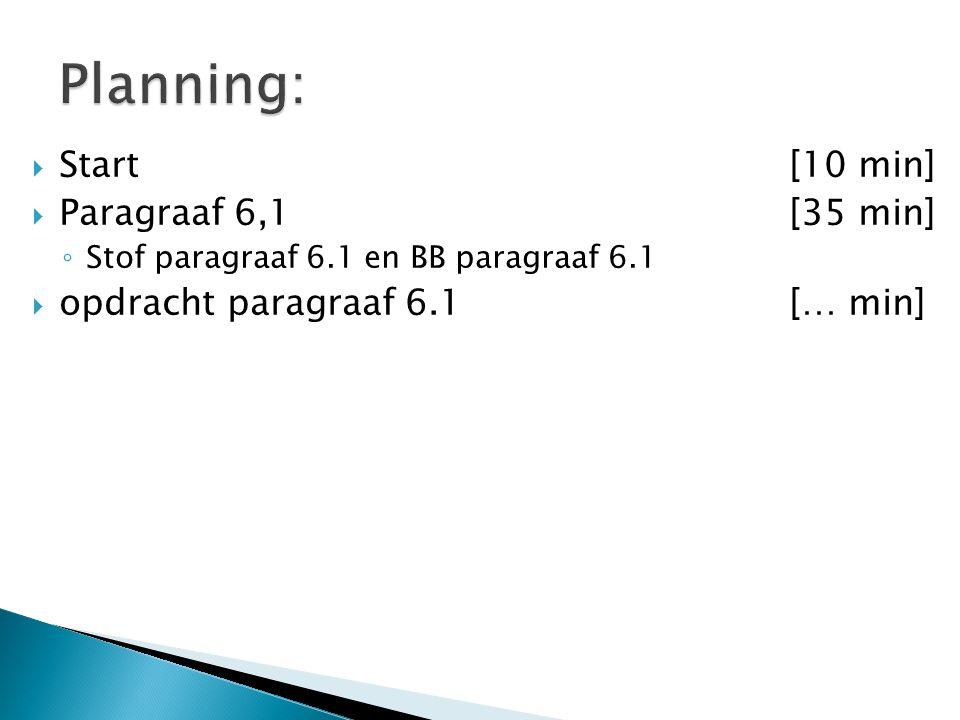 Planning: Start [10 min] Paragraaf 6,1 [35 min]